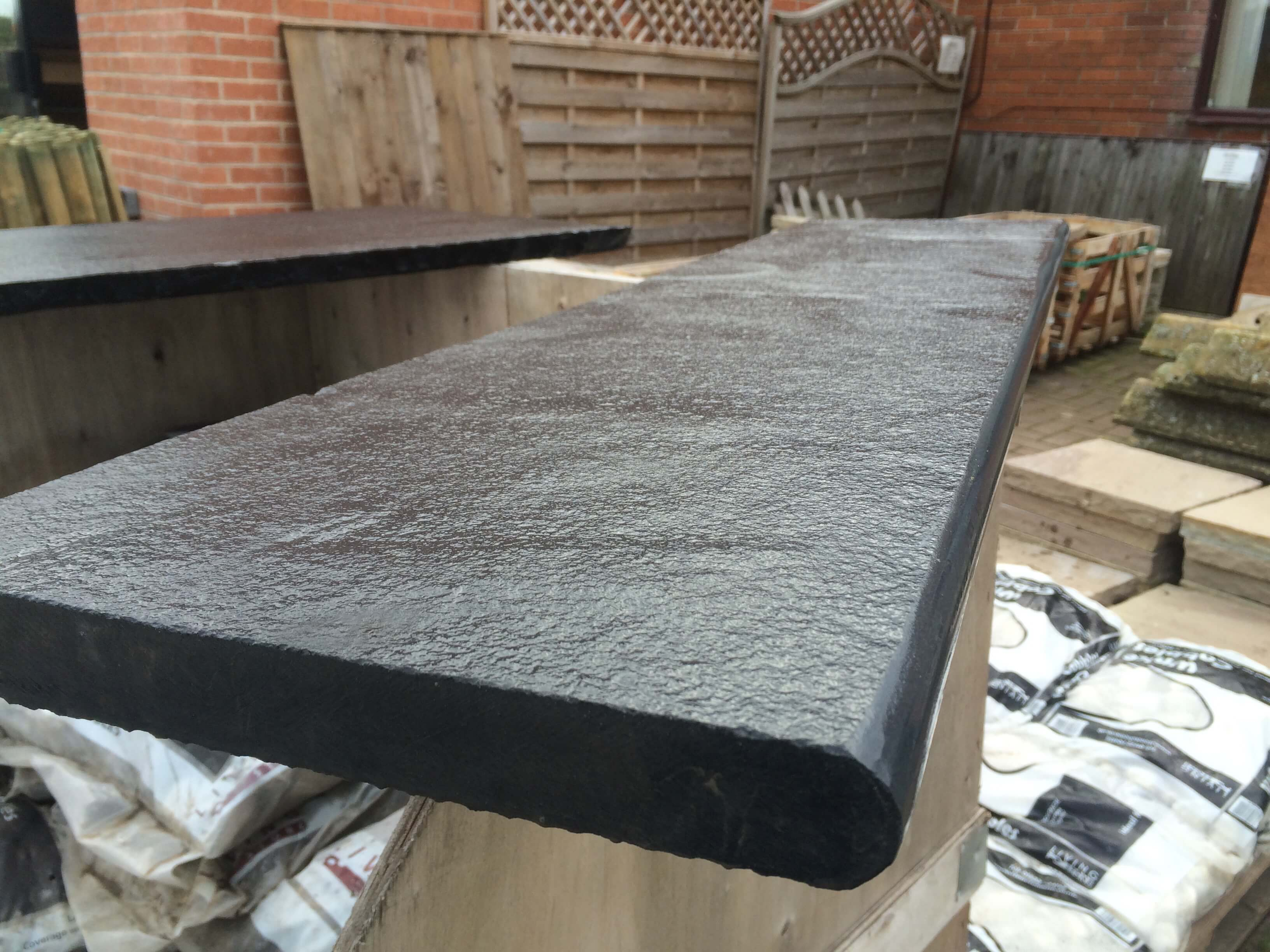 first image for 30mm Bullnose steps - Black Limestone